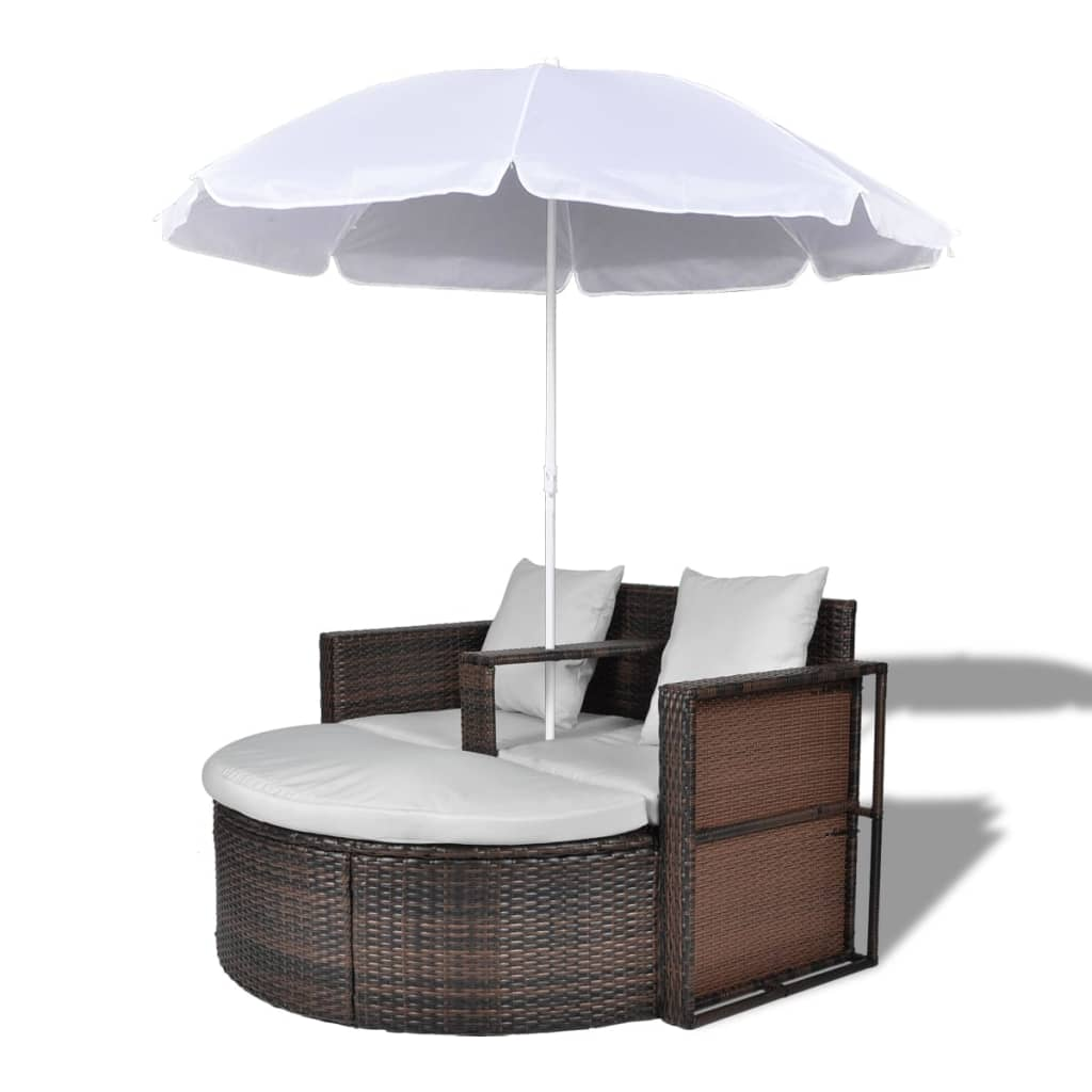 Garden Bed with Parasol Brown Poly Rattan 2