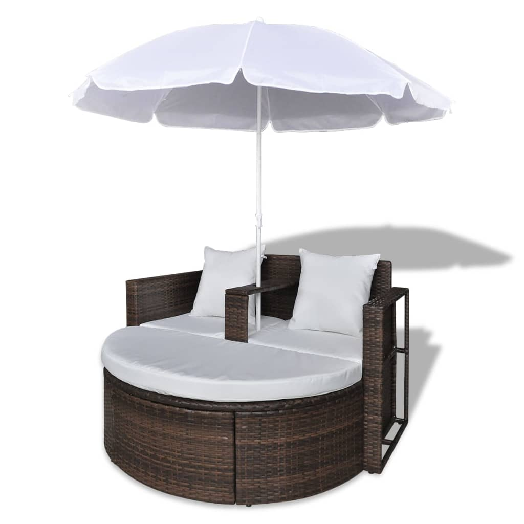 Garden Bed with Parasol Brown Poly Rattan 4