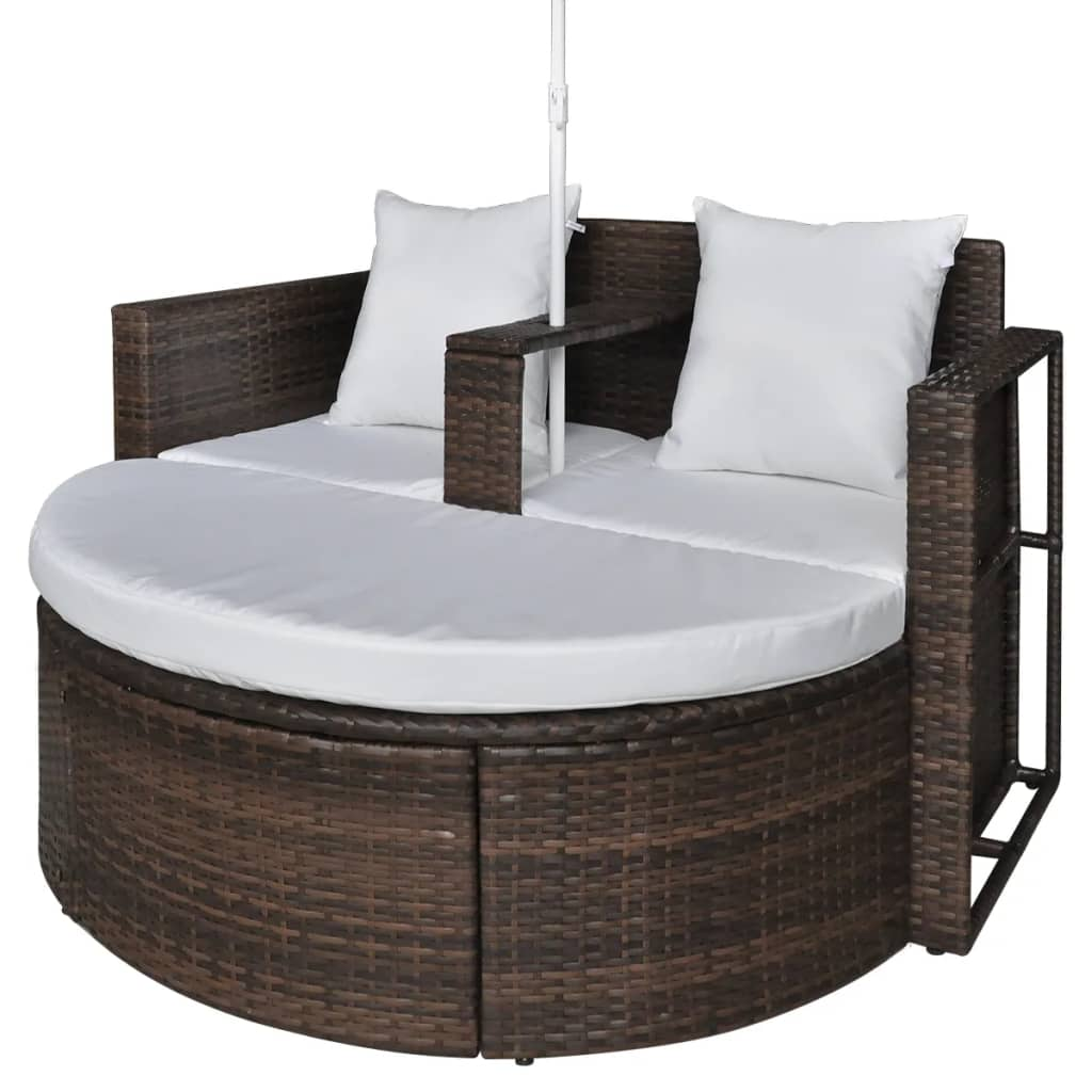 Garden Bed with Parasol Brown Poly Rattan 5