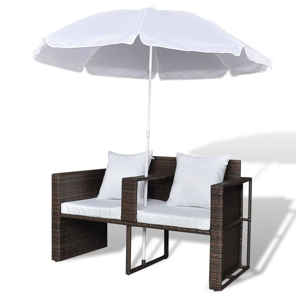 Garden Bed with Parasol Brown Poly Rattan 7