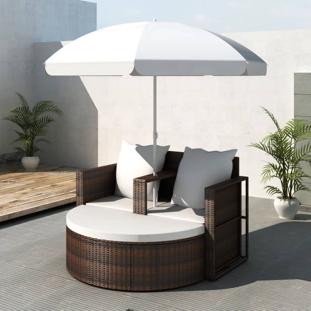 Garden Bed with Parasol Brown Poly Rattan 1