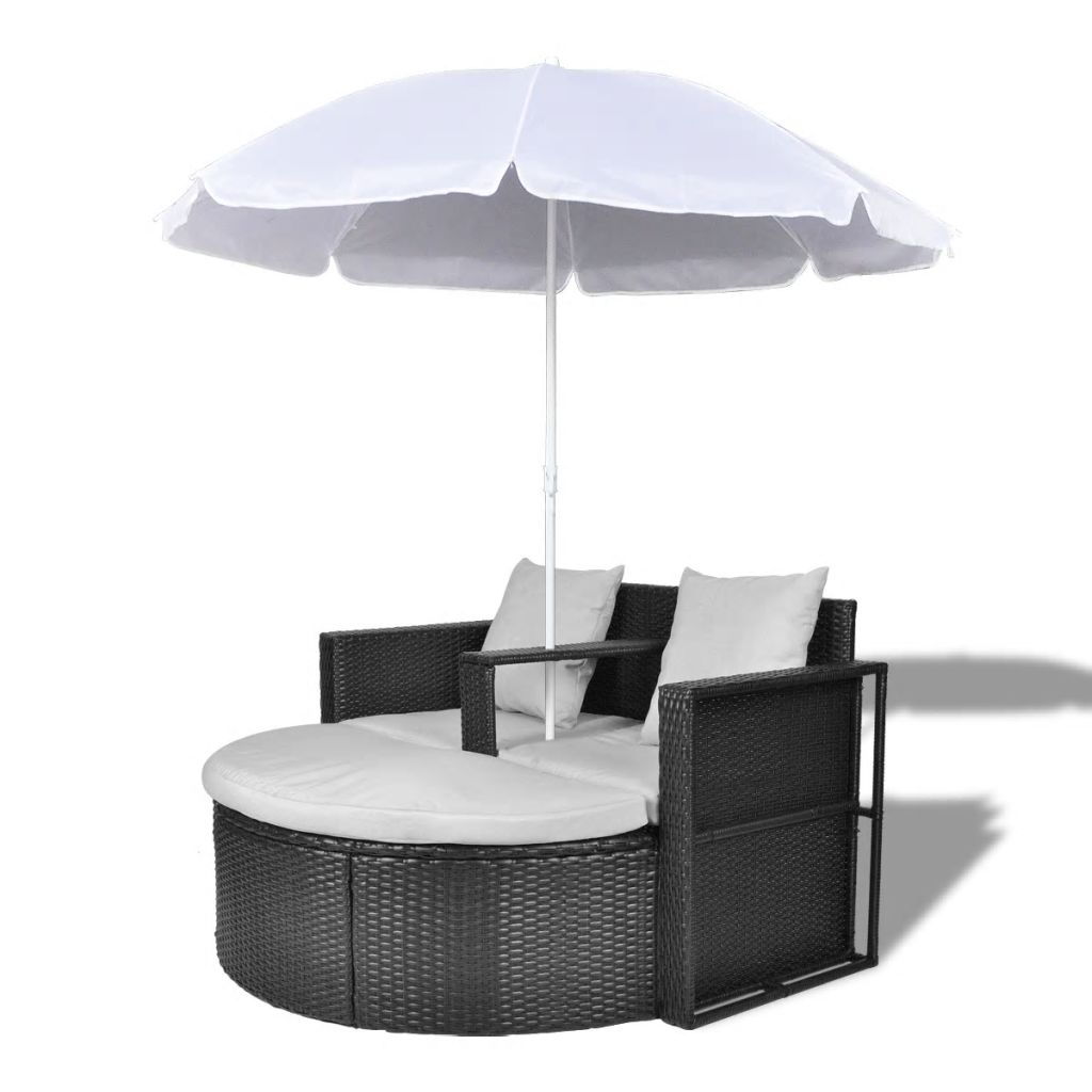 Garden Bed with Parasol Black Poly Rattan 2