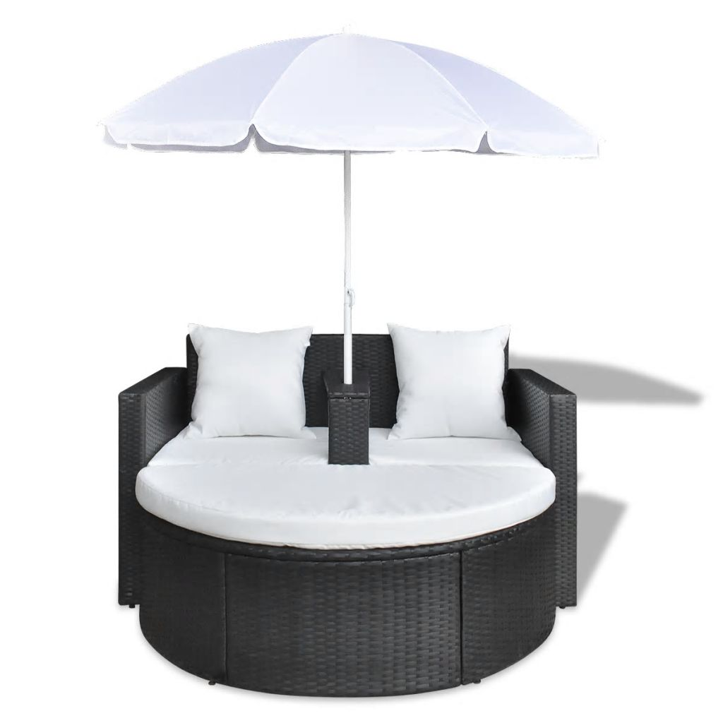 Garden Bed with Parasol Black Poly Rattan 3