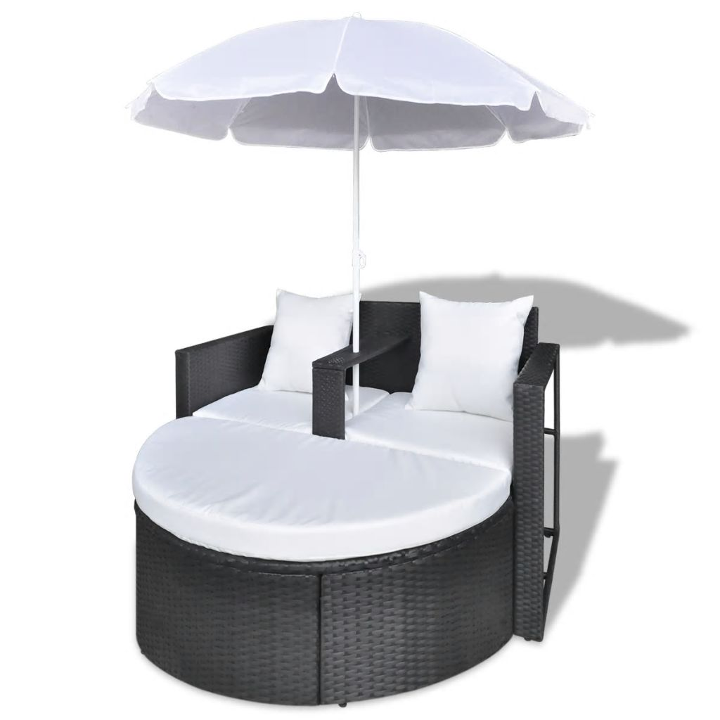 Garden Bed with Parasol Black Poly Rattan 4