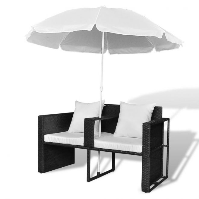 Garden Bed with Parasol Black Poly Rattan 7
