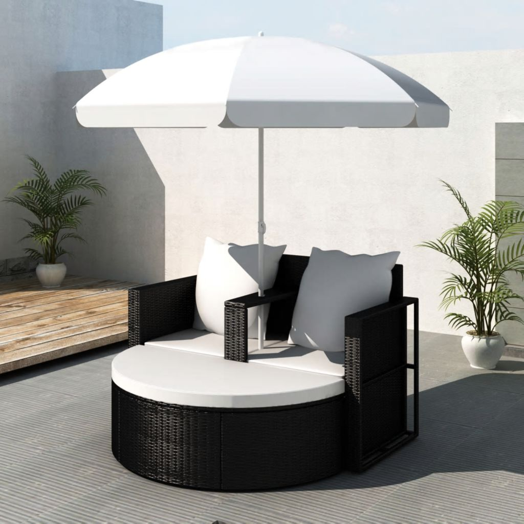 Garden Bed with Parasol Black Poly Rattan 1