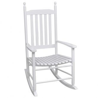 Rocking Chair with Curved Seat White Wood 1