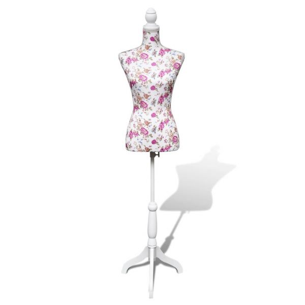 Ladies Bust Display Mannequin Cotton White With Rose 1