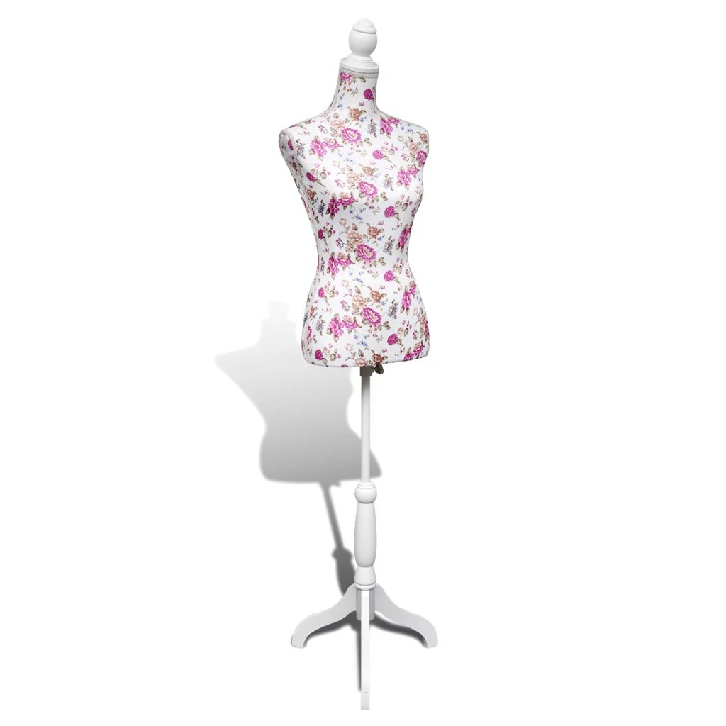 Ladies Bust Display Mannequin Cotton White With Rose 5