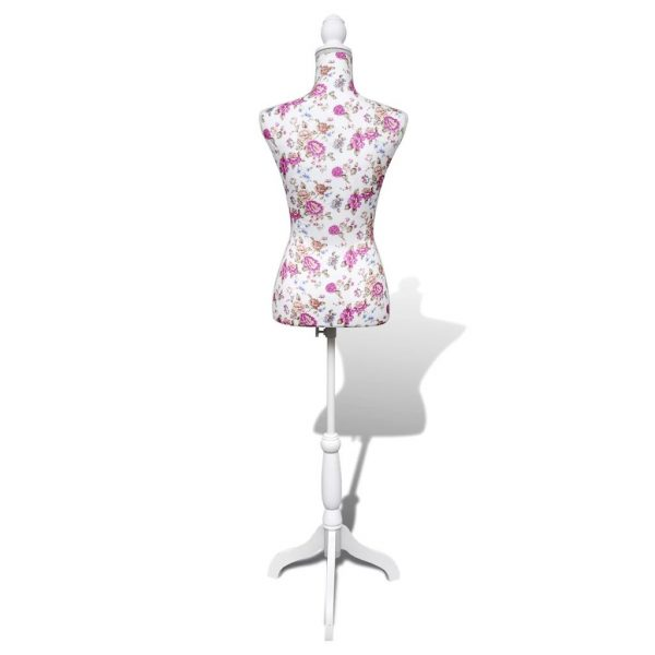 Ladies Bust Display Mannequin Cotton White With Rose 6