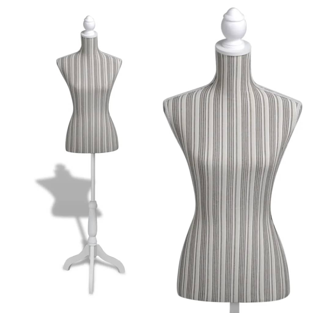 Ladies Bust Display Mannequin Linen With Stripes 2