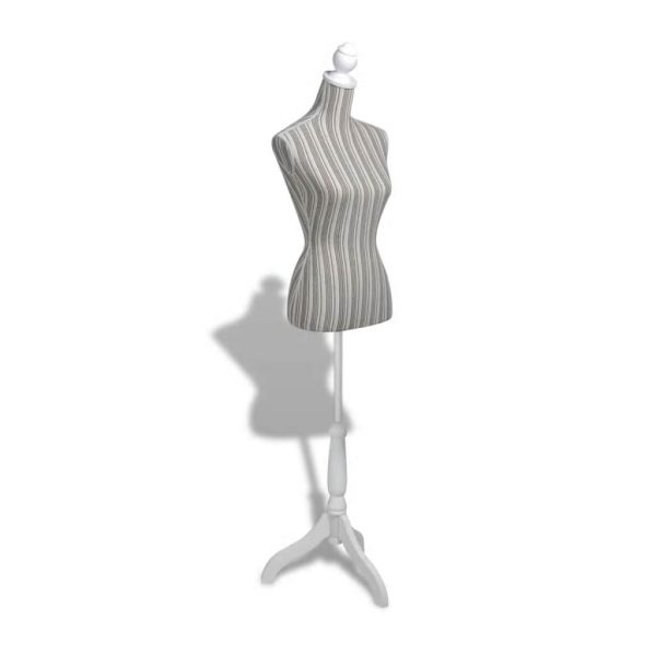 Ladies Bust Display Mannequin Linen With Stripes 3