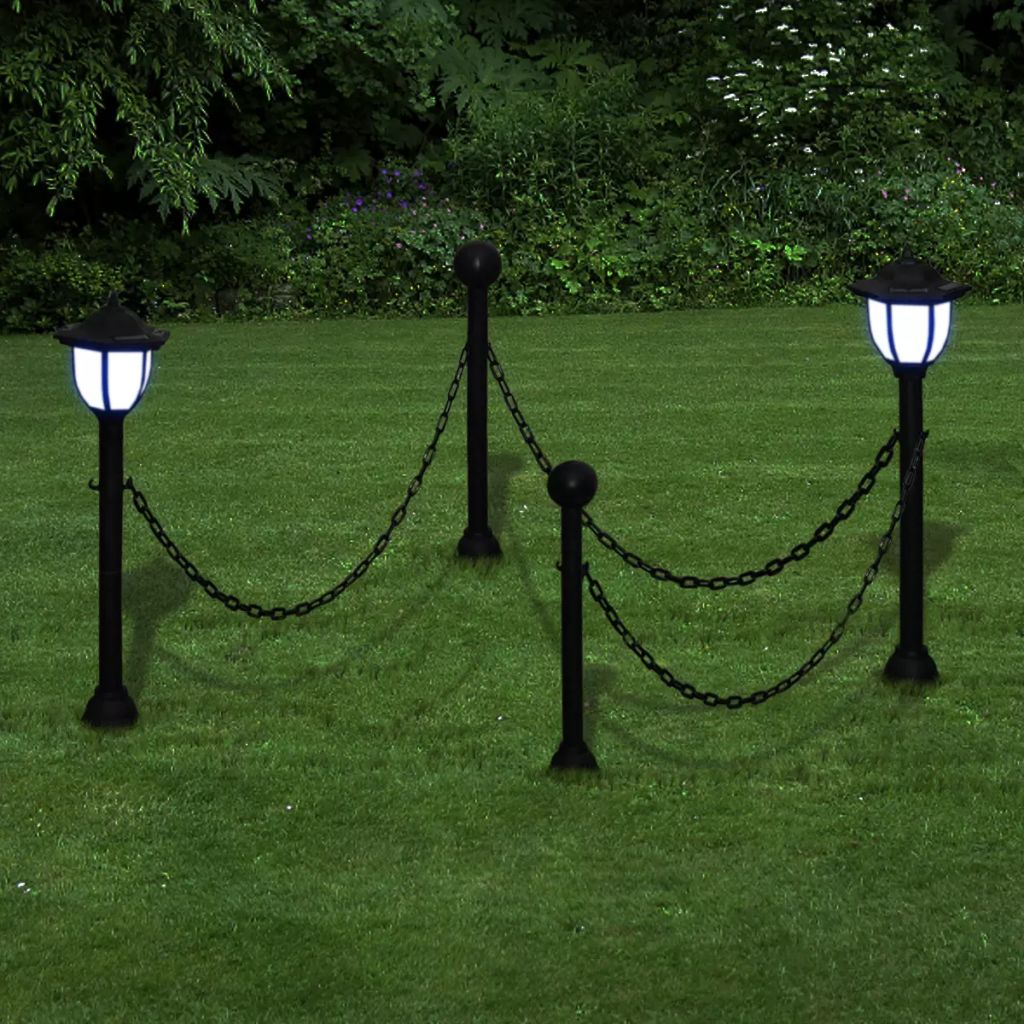 Chain Fence with Solar Lights Two LED Lamps Two Poles 1