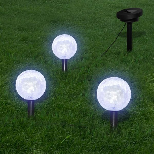 Solar Bowl 3 LED Garden Lights with Spike Anchors & Solar Panel 1