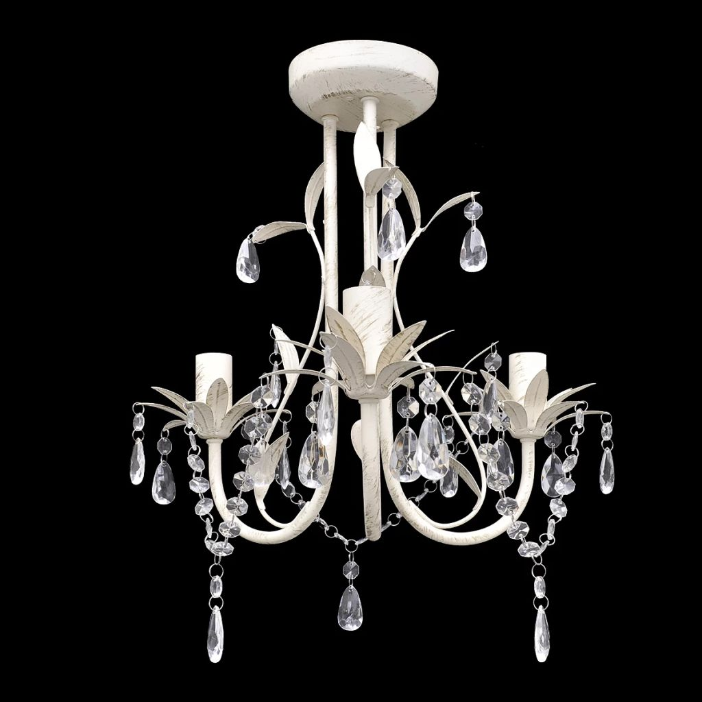 Crystal Pendant Ceiling Lamp Chandelier Elegant White 1