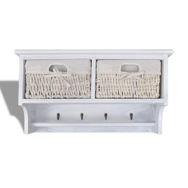 White Wooden Wall Shelf With Hangers 2 Weaving Baskets 4 Hooks 5