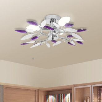 Ceiling Lamp White & Purple Acrylic Crystal Leaf Arms 3 E14 Bulbs 1