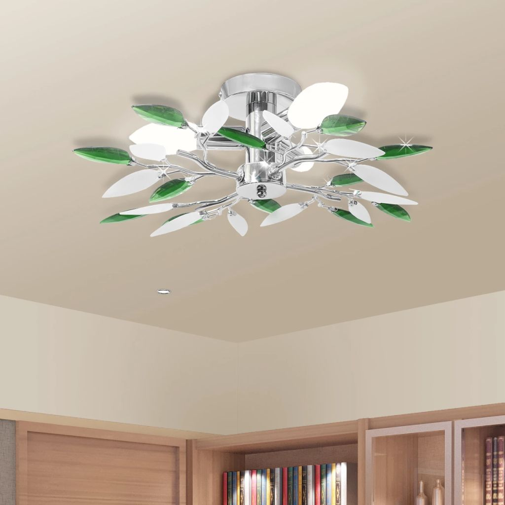 Ceiling Lamp Acrylic Crystal Leaf Arms 3 E14 Bulbs 1