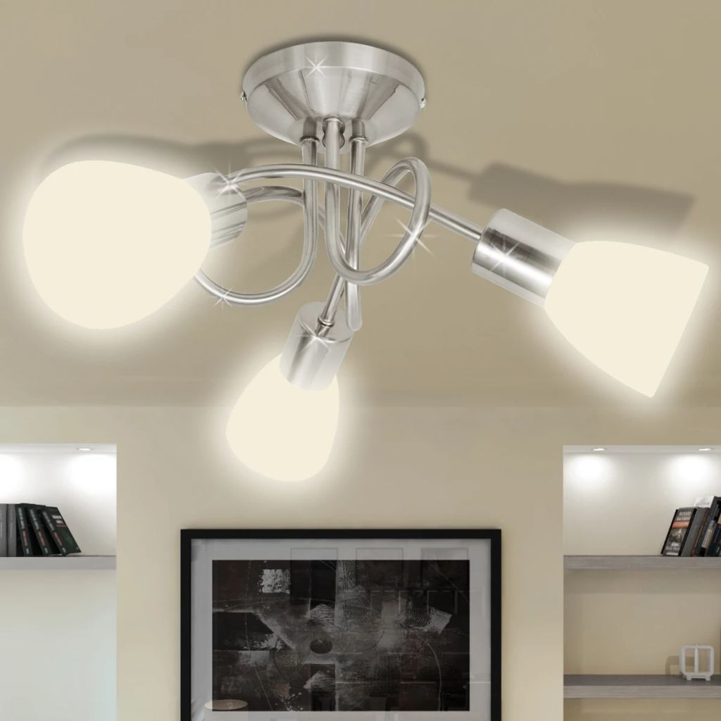Ceiling Lamp with Glass Shades for 3 E14 Bulbs 1