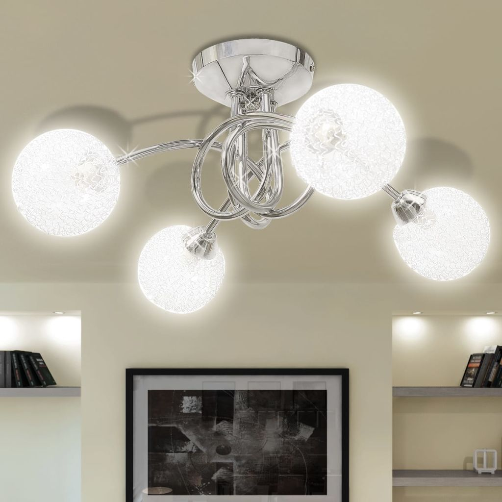 Ceiling Lamp with Mesh Wire Shades for 4 G9 Bulbs 1