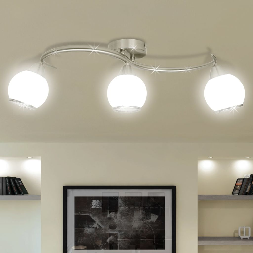 Ceiling Lamp with Glass Shades on Waving Rail for 3 E14 Bulb 1