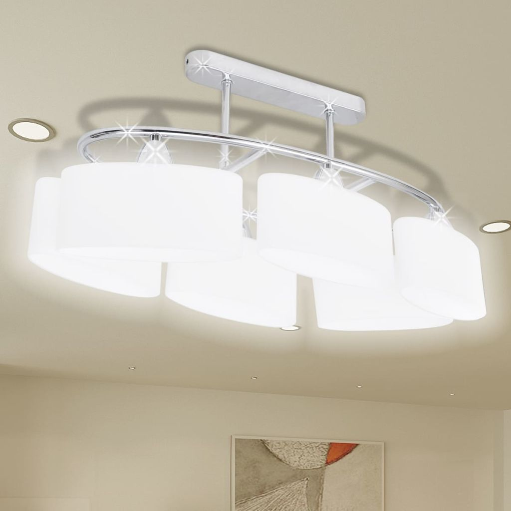 Ceiling Lamp with Ellipsoid Glass Shades for 6 E14 Bulbs 1