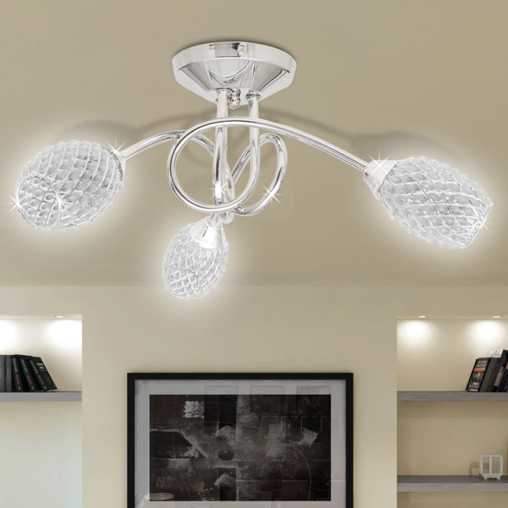 Ceiling Lamp with White Acrylic Crystal Shades for 3 G9 Bulb 1