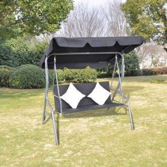 Outdoor Hanging Rattan Swing Chair with a Canopy Black 1