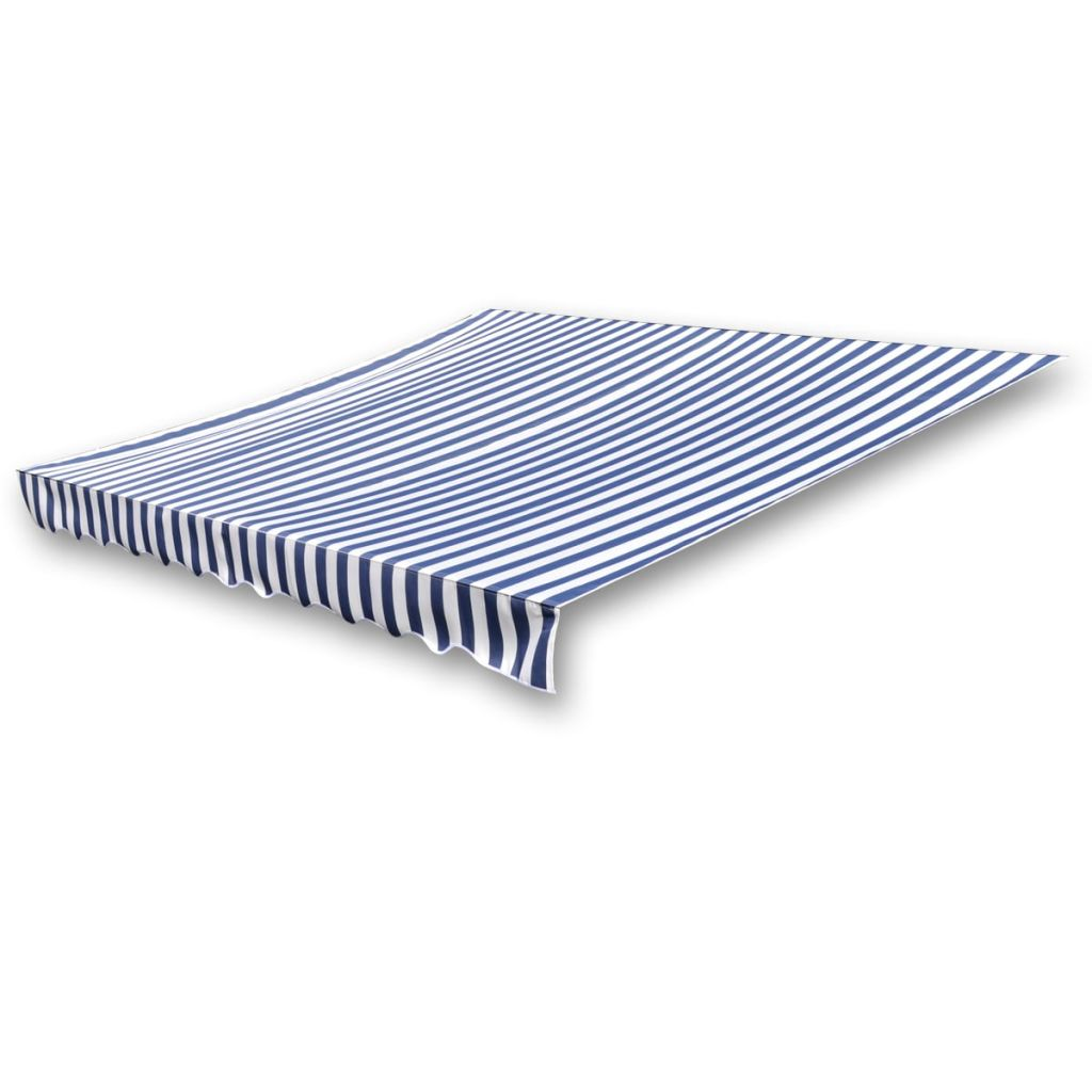 Awning Top Sunshade Canvas Blue & White 4 x 3 m 2