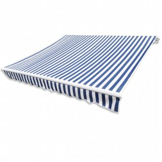 Awning Top Sunshade Canvas Blue & White 4 x 3 m 1