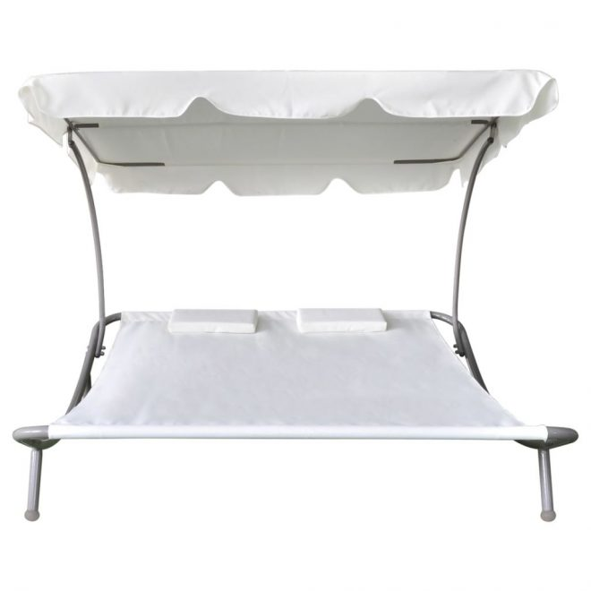 Outdoor Lounge Bed with Canopy & Pillows Cream White 3