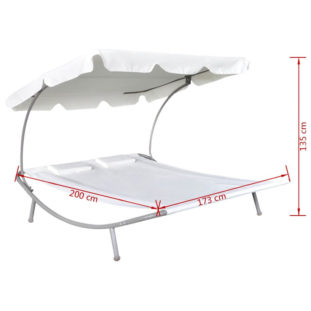 Outdoor Lounge Bed with Canopy & Pillows Cream White 5