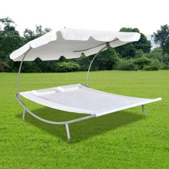 Outdoor Lounge Bed with Canopy & Pillows Cream White 1
