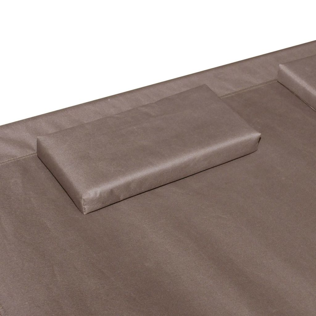 Outdoor Lounge Bed with Canopy & Pillows Brown 4