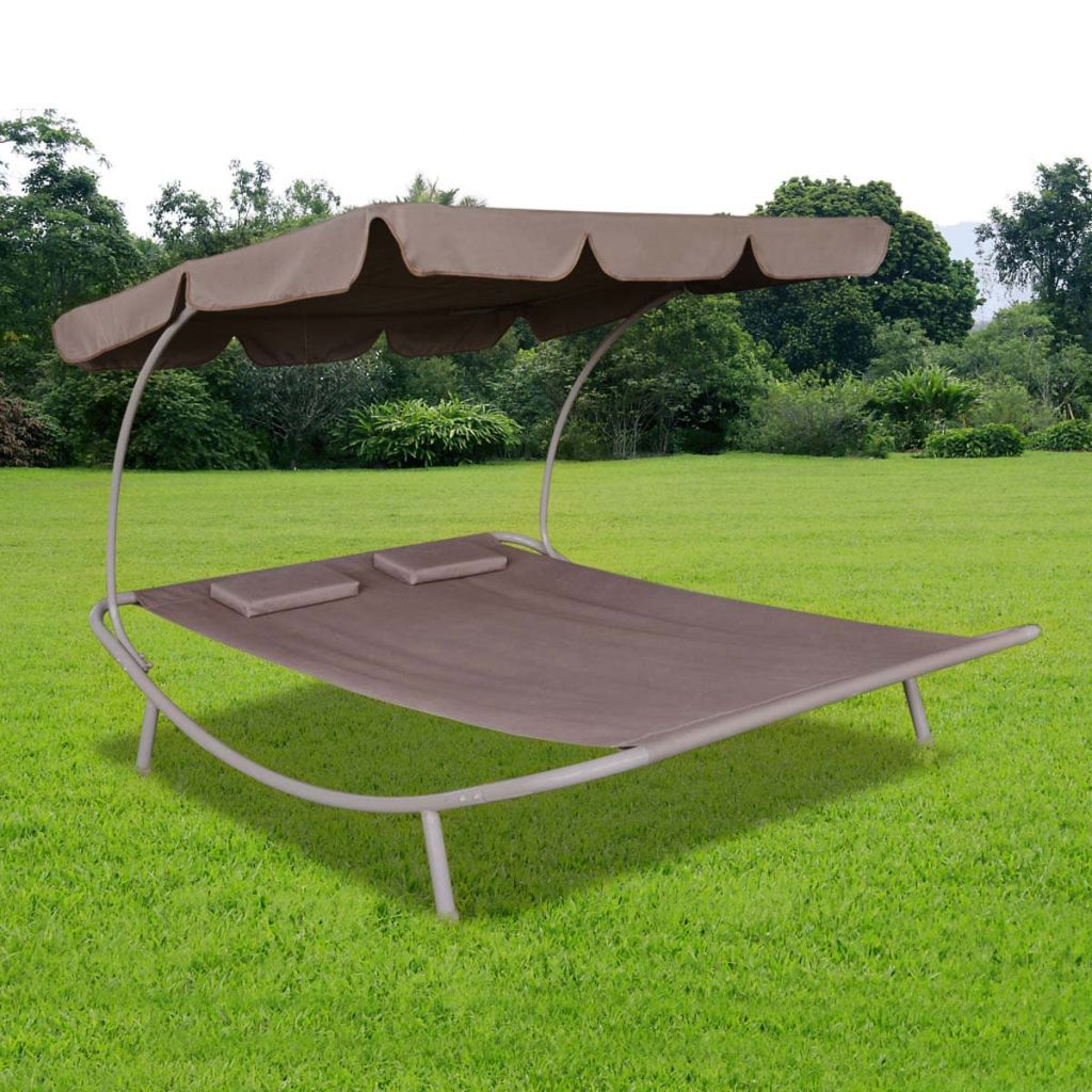 Outdoor Lounge Bed with Canopy & Pillows Brown 1