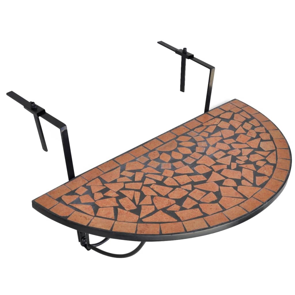 Hanging Balcony Table Terracotta Mosaic 1