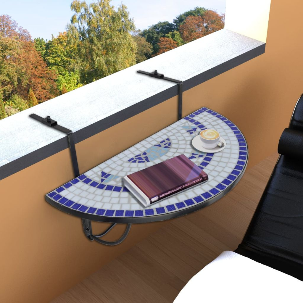Hanging Balcony Table Blue and White Mosaic 2