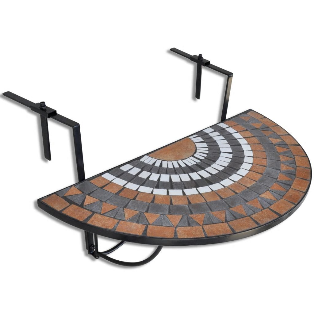 Hanging Balcony Table Terracotta and White Mosaic 1