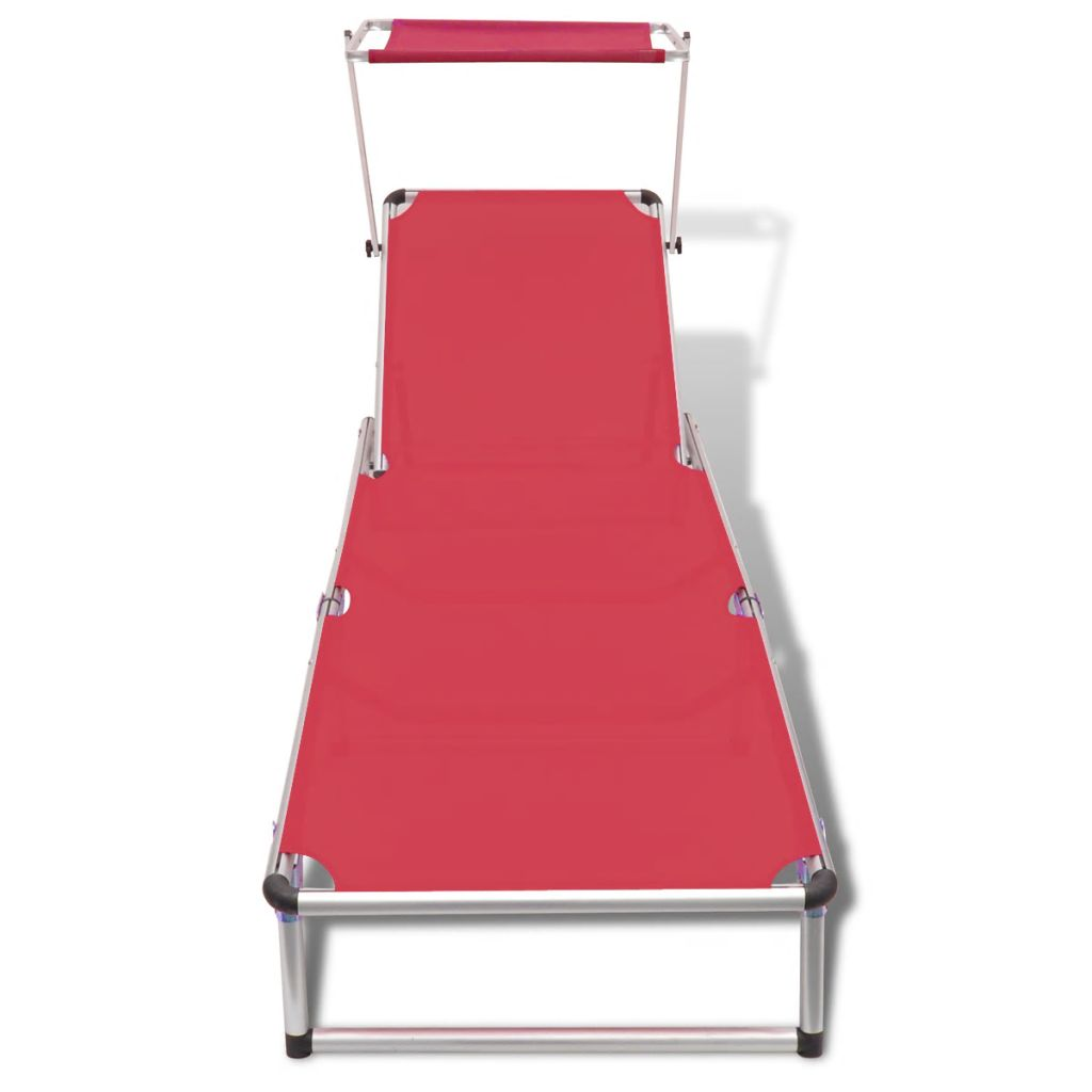 Folding Sun Lounger with Roof Aluminium and Textilene Red 2