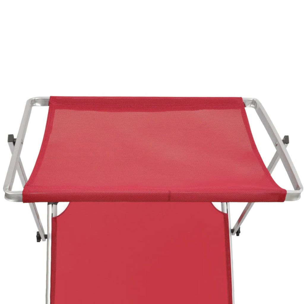 Folding Sun Lounger with Roof Aluminium and Textilene Red 3