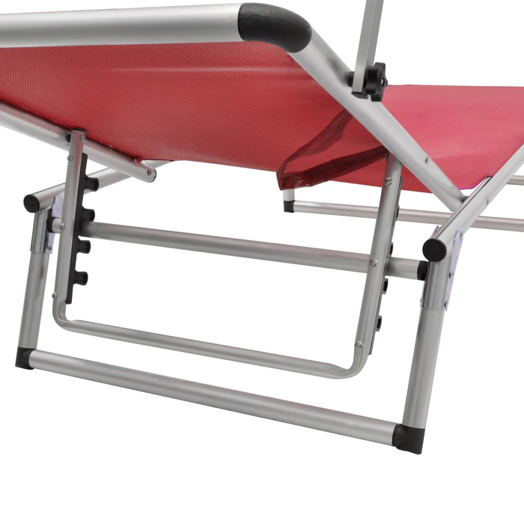 Folding Sun Lounger with Roof Aluminium and Textilene Red 5