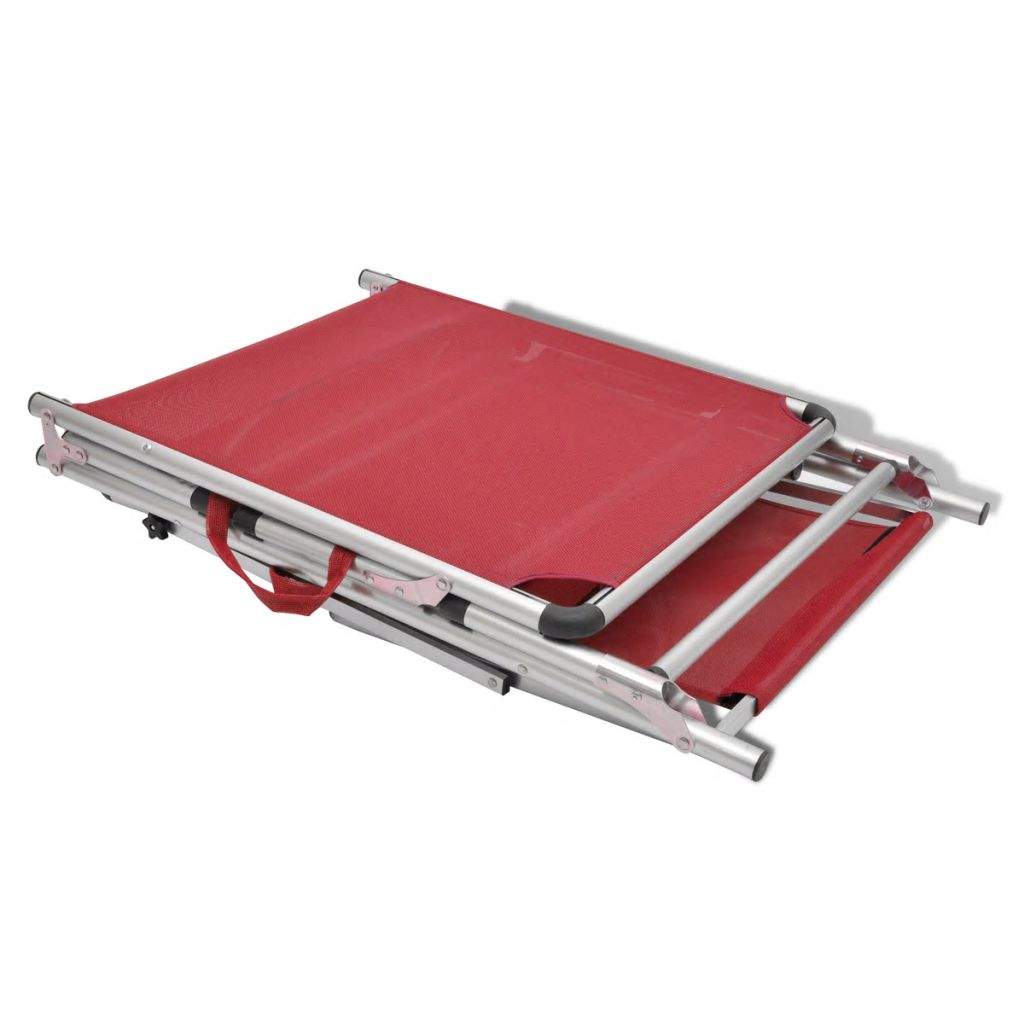 Folding Sun Lounger with Roof Aluminium and Textilene Red 7
