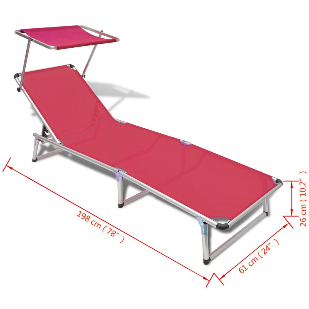 Folding Sun Lounger with Roof Aluminium and Textilene Red 8