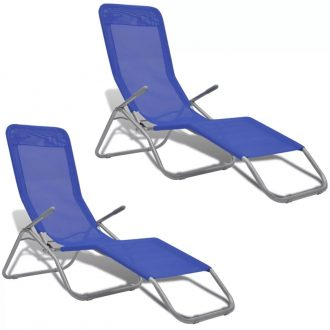 Sun Loungers 2 pcs Steel Frame and Textilene Blue 1