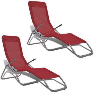 Sun Loungers 2 pcs Steel Frame and Textilene Red 1