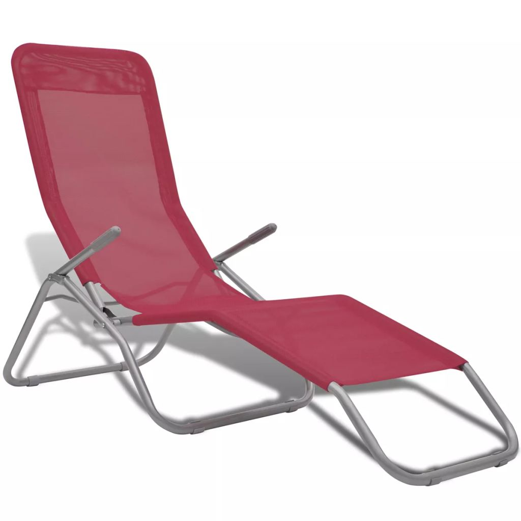 Sun Loungers 2 pcs Steel Frame and Textilene Red 2