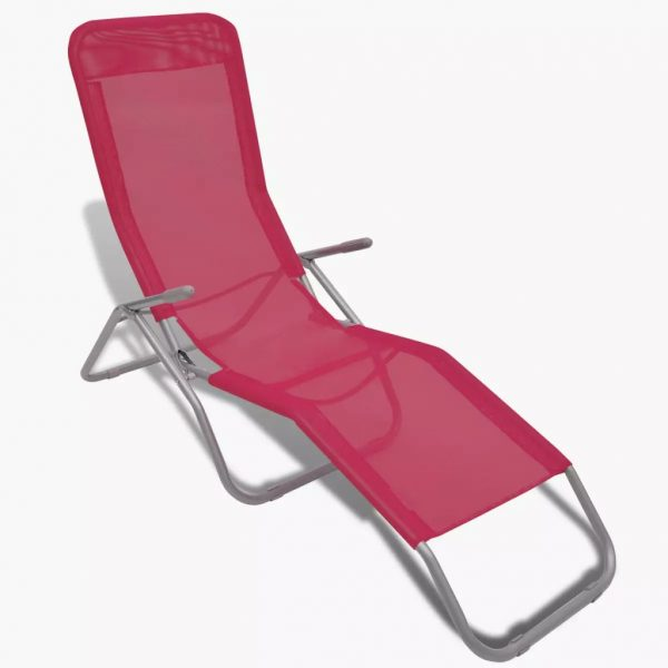 Sun Loungers 2 pcs Steel Frame and Textilene Red 3
