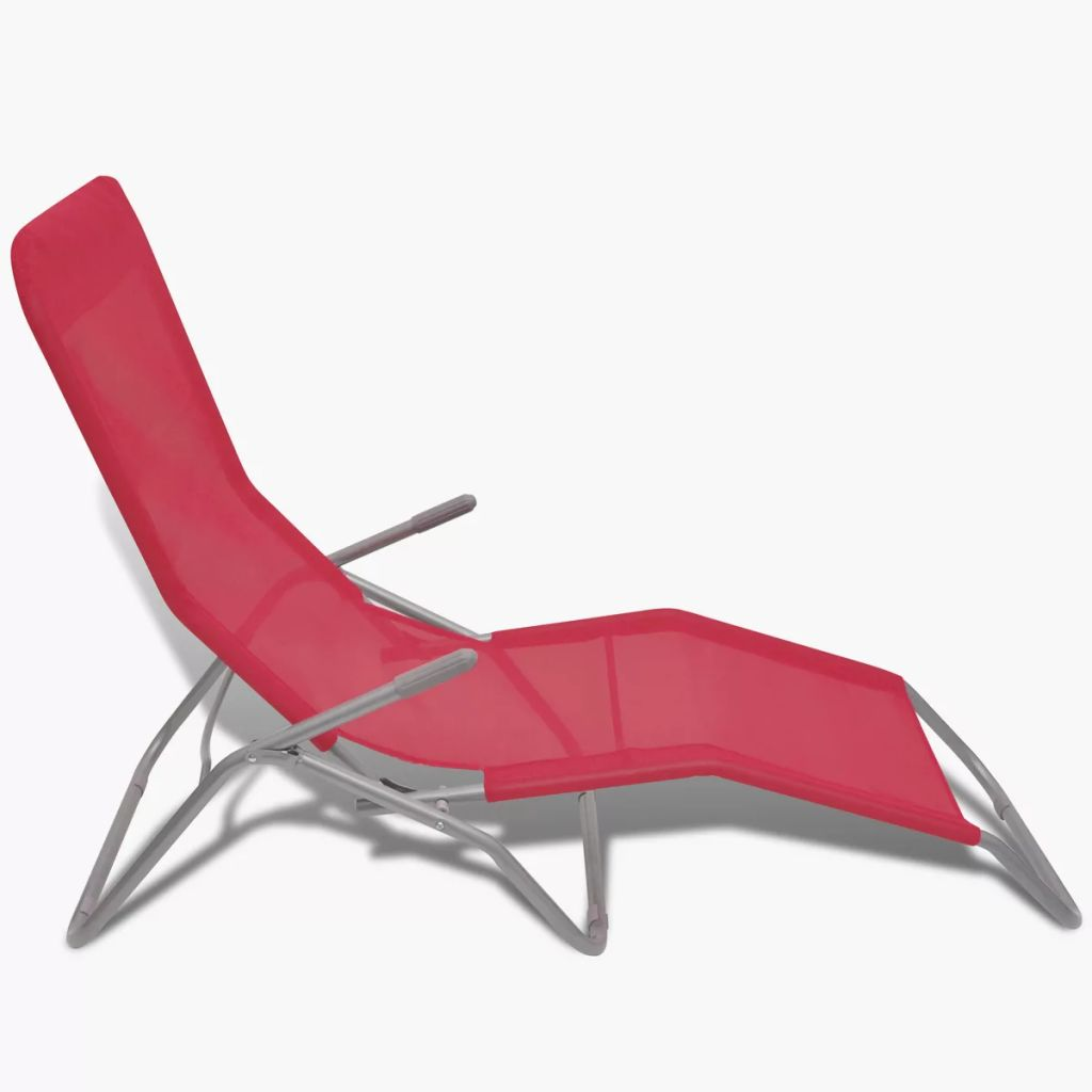 Sun Loungers 2 pcs Steel Frame and Textilene Red 6