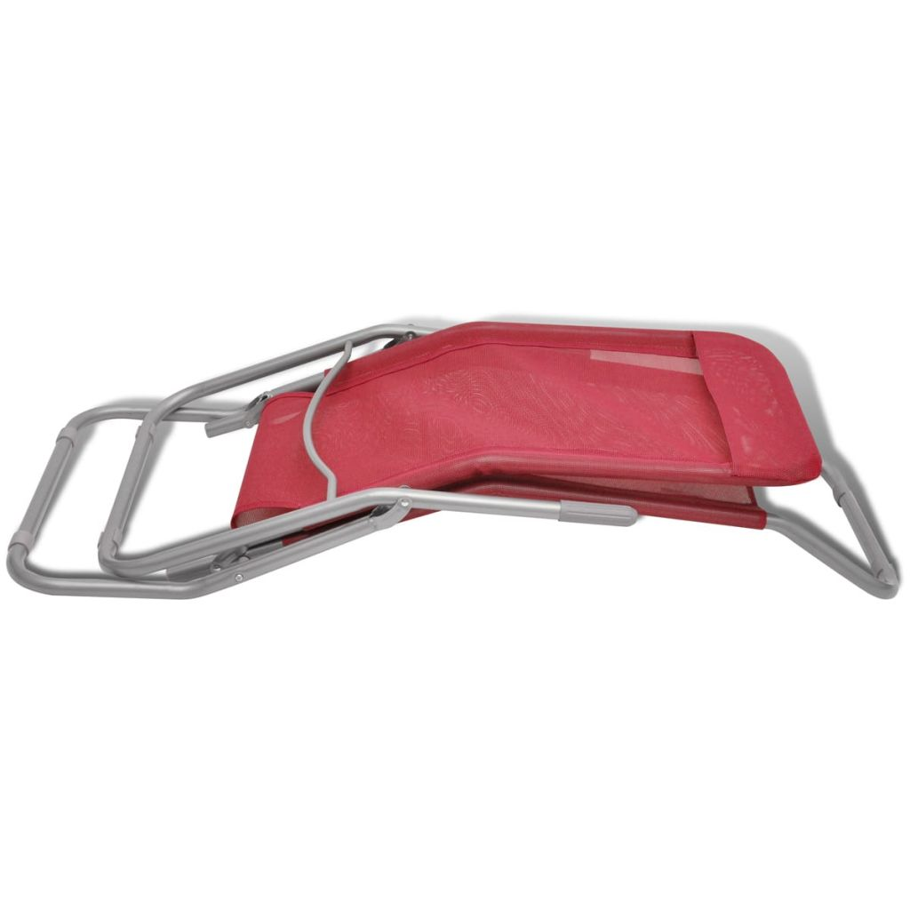 Sun Loungers 2 pcs Steel Frame and Textilene Red 8