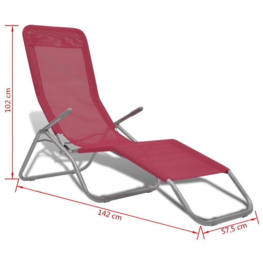 Sun Loungers 2 pcs Steel Frame and Textilene Red 10
